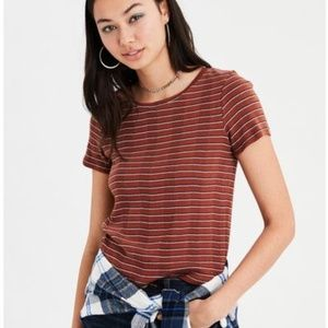 American Eagle Rust Stripe Ribbed Crew T-shirt